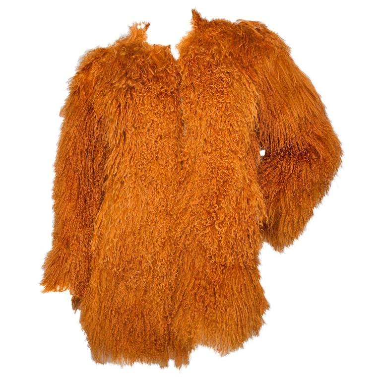 Iconic documented Yves Saint Laurent Mongolian Lamb Fur Coat 1