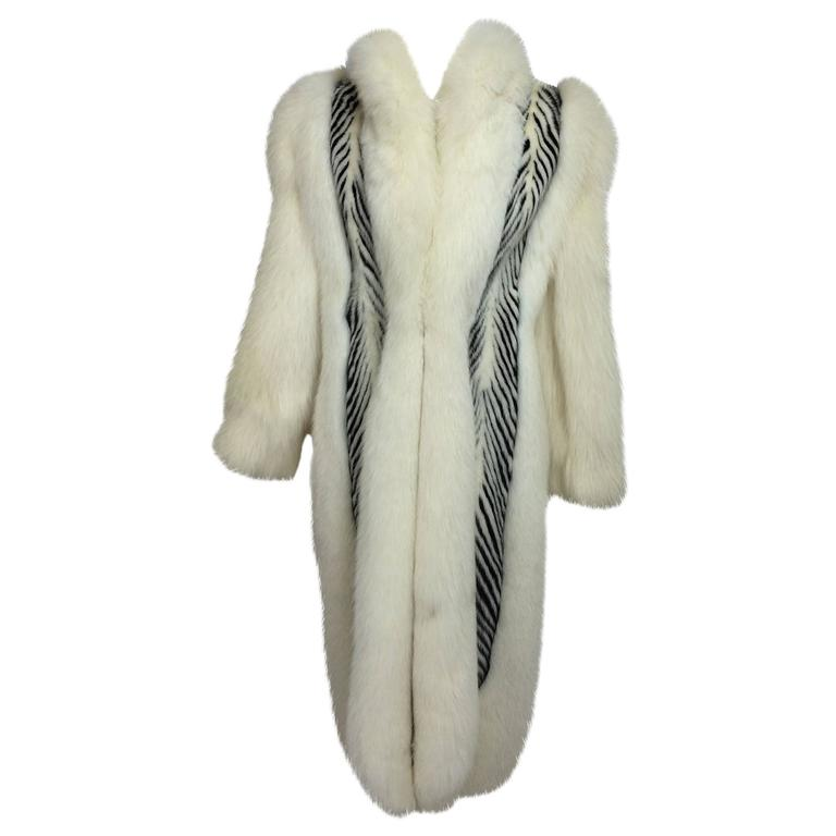 Aladino Stefani arctic fox and sheared black and white mink full length coat 1