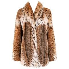 GENUINE BOBCAT Spotted Fur Large Collar Statement Stroller Coat Jacket