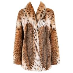 GENUINE BOBCAT Spotted Fur Large Collar Statement Stroller Coat Jacket