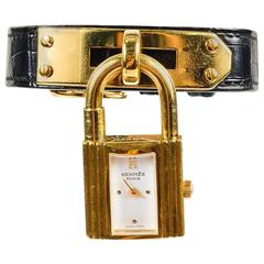 "Vintage Hermes Black Alligator Leather Gold Plated Padlock ""Kelly PM"" Watch"