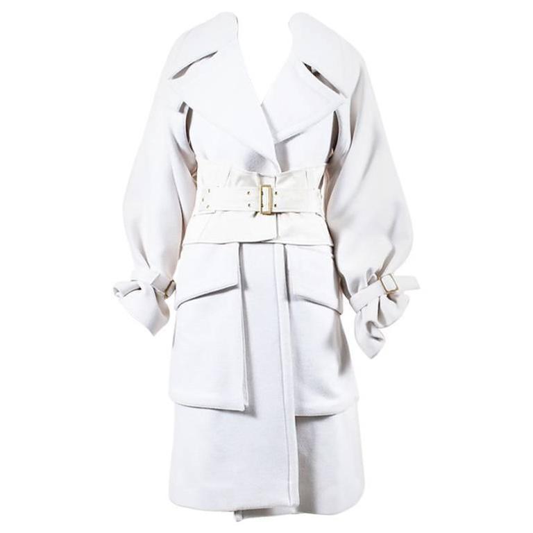 Gucci Runway FW 2003 Cream Wool Angora Wide Collar Corset Belted Coat SZ 40 1