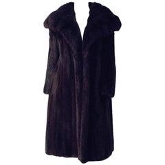 70s Dark Brown Mink Coat with Sable Collar