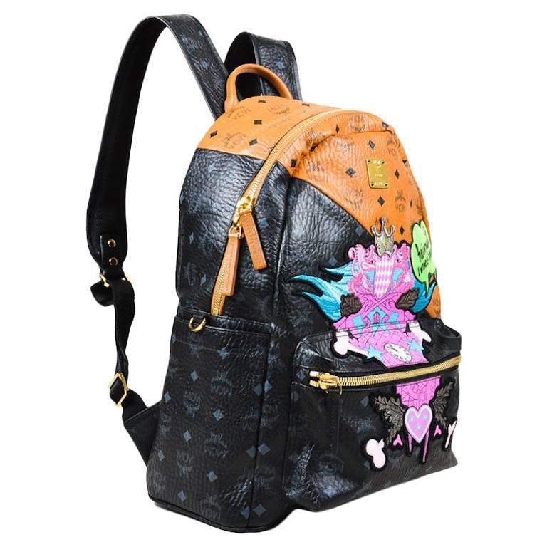 MCM x Stefan Strumbel Limited Edition Tan Black Leather Medium Backpack 1