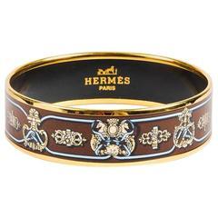 Hermes Beige Blue & Brown Enameled & Gold Plated Printed Bangle Size 65