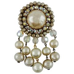 Vintage Bejeweled Pearl Brooch