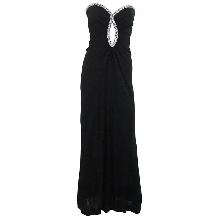 Bob Mackie Black Strapless Gown with Rhinestone Trim - S - 1980's