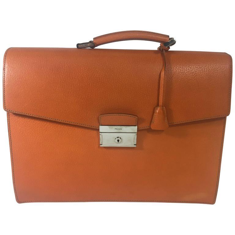 Prada Orange Cinghiale Leather Briefcase