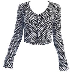 Chic Vintage Agnes B 1990s Black and White 90s French Cropped Tailored Jacket