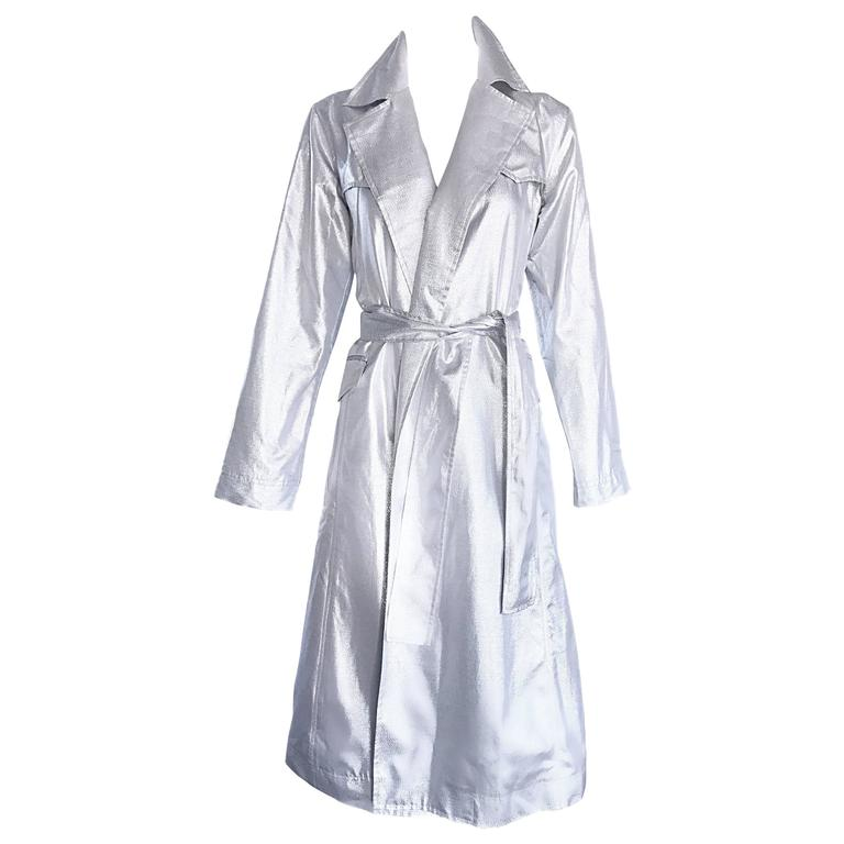 Behnaz Sarafpour Amazing Silver Metallic Belted Trench Runway Jacket Coat Size 4