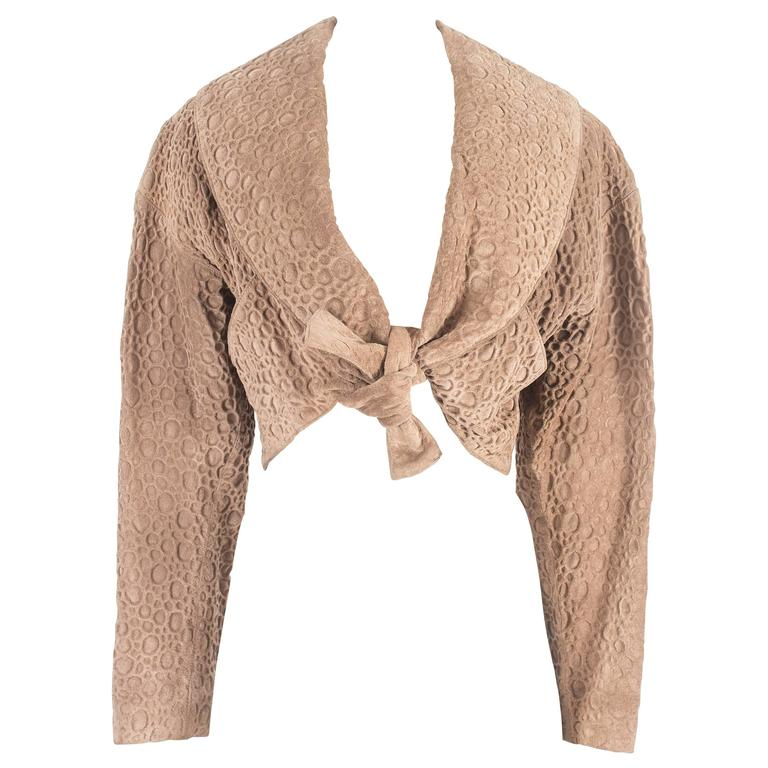 Alaia taupe leather bolero jacket, circa 1987 For Sale