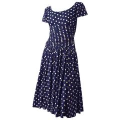 50s Navy Blue & Ivory Polka Dot Dress with Full Gathered Skirt