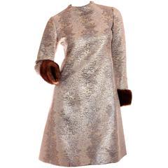 Mod Elinor Simmons Malcolm Starr Metallic Brocade Dress with Fur Cuffs S 1960s