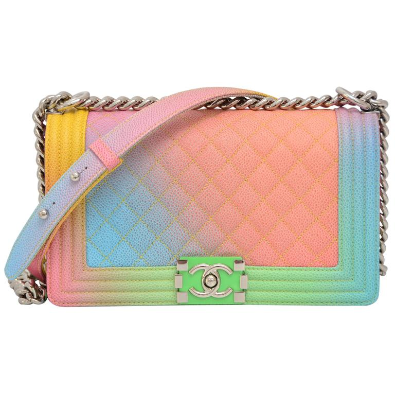 ee0b109dee0670 Chanel Rainbow Chanel Boy Handbag Medium '17 Crossbody NEW Sold Out For Sale