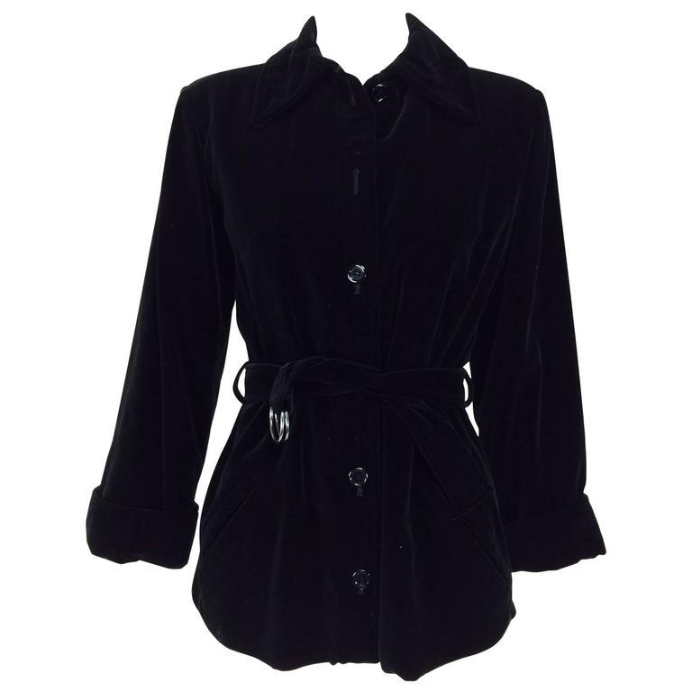 Yves St Laurent black velvet button front belted waist jacket 1970s