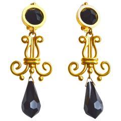 Karl Lagerfeld Jet Glass Gilt Earrings