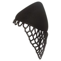 Henri Bendel Avant Garde Black Beaded Conical Hat c 1990