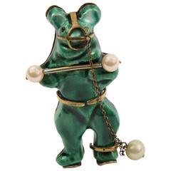 Rare Ceramic Bear Brooch Pin by Lucien Neuquelman for Elsa Schiaparelli 1938