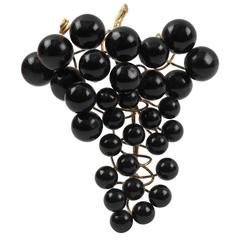 Gianfranco Ferre Sculptural Oversized Statement Pin Brooch Black Resin Grapes
