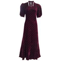1940s  Burgundy velvet dress