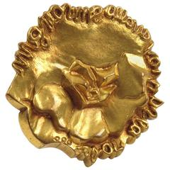 Line Vautrin Paris Vintage 1960s Signed Bronze Dore Pin Brooch Ronsard Poem