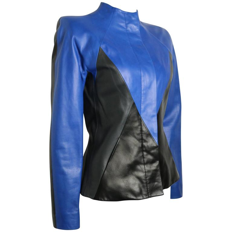 Givenchy By Alexander McQueen Colour Blocked Geometric Leather Jacket For Sale