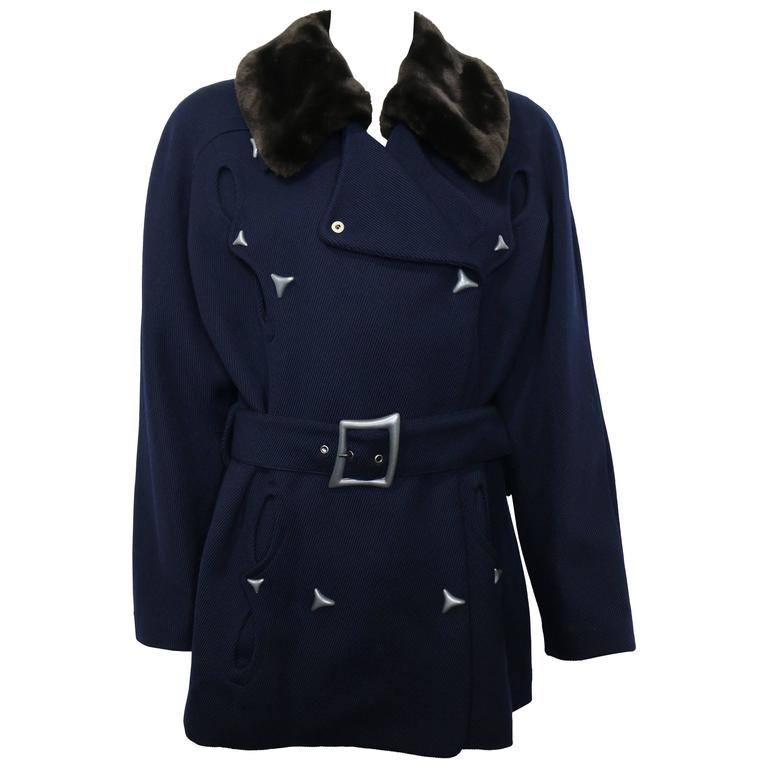 Thierry Mugler Navy Blue Faux Fur Detachable Collar Double Breasted Belted Coat For Sale