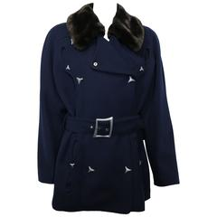 Thierry Mugler Navy Blue Faux Fur Detachable Collar Double Breasted Belted Coat