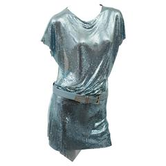 New Versace Blue Metal Mesh Dress with Belt