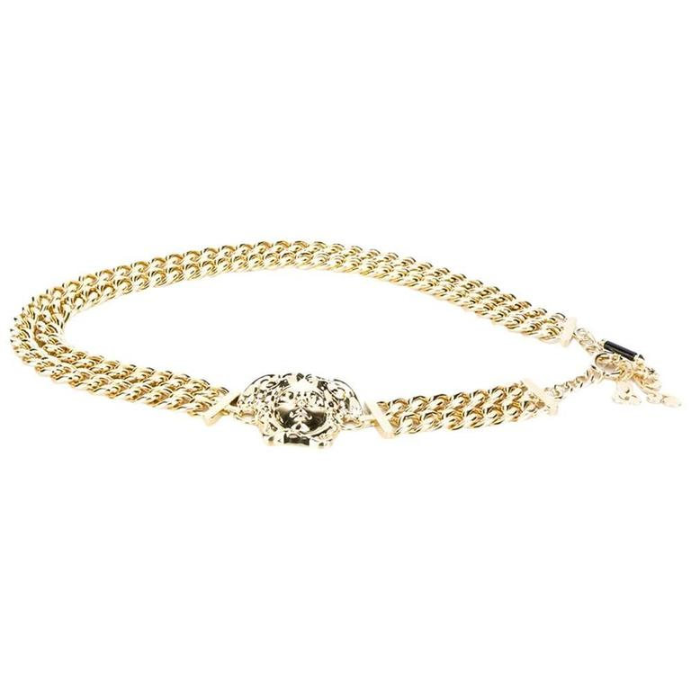 New Versace Palazzo Medusa Gold Chain Belt For Sale