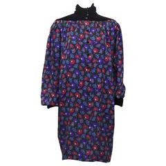 1980's Ungaro Floral Wool and Velvet Sac Dress