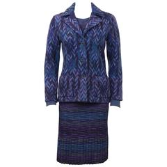 1990's 3 Piece Missoni Skirt Suit With Matching Sweater