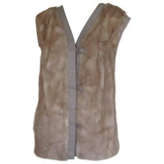 Sleeveless Mink fur Vest Gilet trimmed with Leather