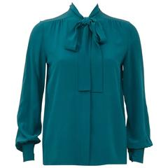 Chanel 1980's Turquoise Silk Pussy Bow Shirt