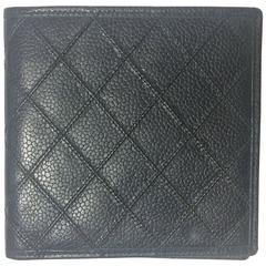 MINT. Vintage CHANEL black caviar leather square wallet, bill, card case. Unisex