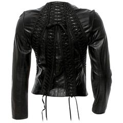Christian Dior Black Lambskin Leather Corset Laced Bondage Jacket by Galliano