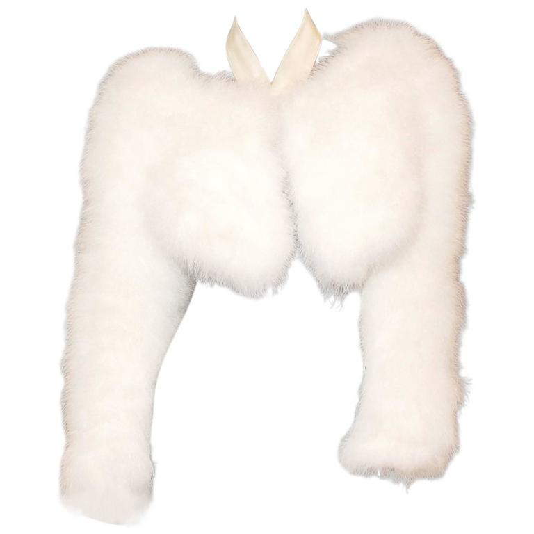 Gucci by Tom Ford SS 2004 White Marabou Feather Bolero Jacket 1