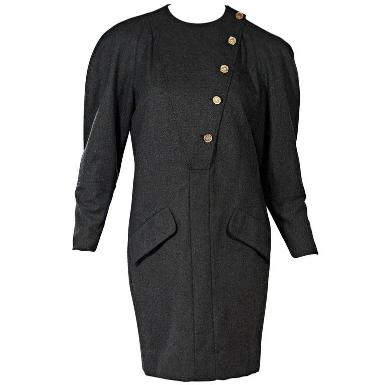 Grey Vintage Chanel Dolman Sleeve Dress