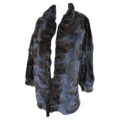 Beautiful Blue/brown dyed Fox Fur coat