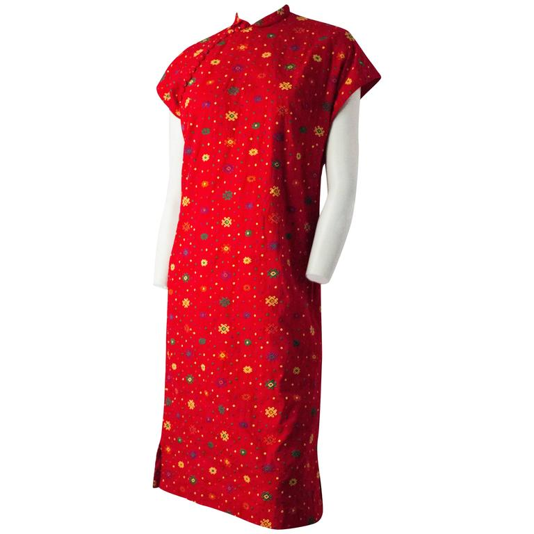 60s Red Embroidered I.Magnin Cheongsam Dress