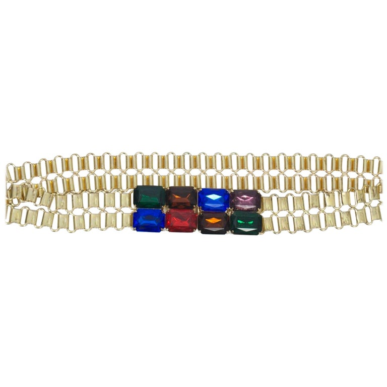 Link Belt with Multi-Stone Clasp