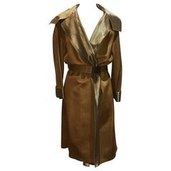 Chanel Tan Leather Gold Lame Lined Long Wrap Trench Coat Size 12
