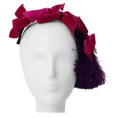 40s Pink & Purple Velvet Cocktail Hat with Feather Pouf
