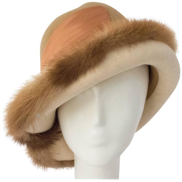 70s Tan Mink Trimmed Hat For Sale