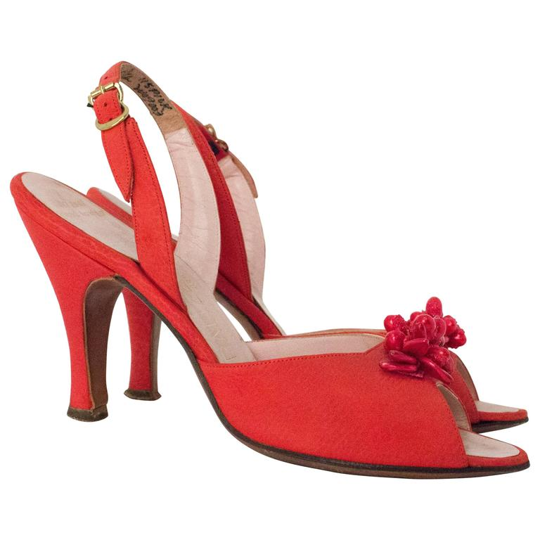50s Red Peep-toe Slingback Heel For Sale