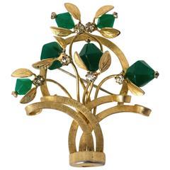 50s Floral Basket Art Deco Style Brooch