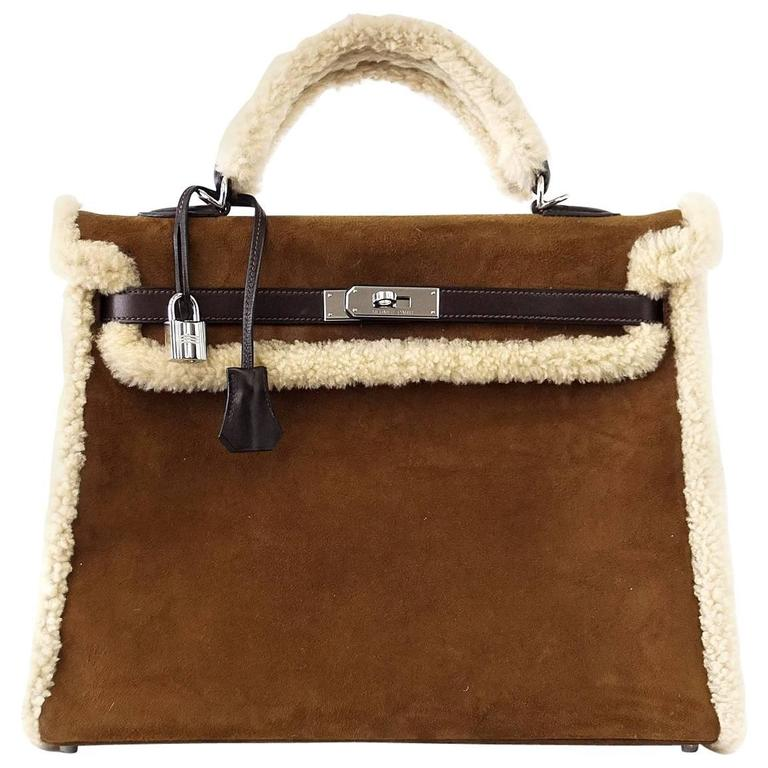 HERMES KELLY 35 Bag Coveted Limited Edition Teddy Shearling Plush mint 1