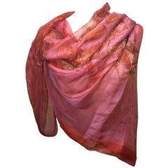Hermes Sheer Pink and Red Rocaille Silk Shawl Scarf