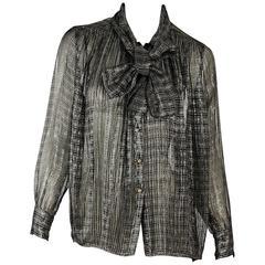 Black & Gold Vintage Chanel Sheer Top
