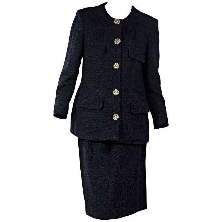 Navy Vintage Chanel Skirt Suit Set